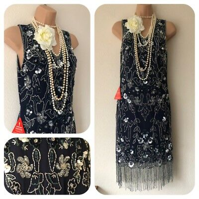 NWT Frock & Frill Sequin Beaded Embellished Dress 20's Gatsby Flapper 14 Party