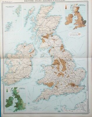 Map of the British Isles Railways & Industrial Regions. 1922. UK. ENGLAND.