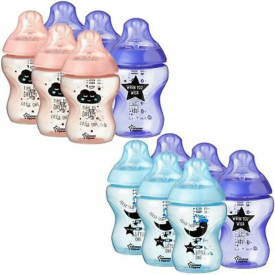 New 6x Tommee Tippee 260ml 9oz Feeding Bottles Boys / Girls Catch me QUICK