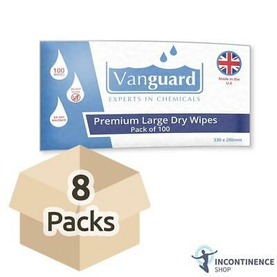 Vanguard Premium Large Dry Wipes - 33cm x 28cm - 8 Packs of 100