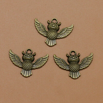 20 pcs Alloy Pendants Flying Owl Shape Bronze Jewelry Making Accessory for Craft