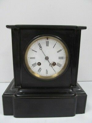 Antique French Black Slate Mantle Clock