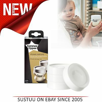 Tommee Tippee Closer to Nature Milk Storage Lids 4Pk│BPA-Free│Microwave Safe│New