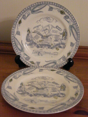 Two Burleigh Ware God Speed The Plough Farmers Arms Tea Plates  Burgess & Leigh