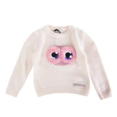 FENDI ROMA Jumper Size 24M Cashmere & Wool Blend Fur Trim Made in Italy RRP €329