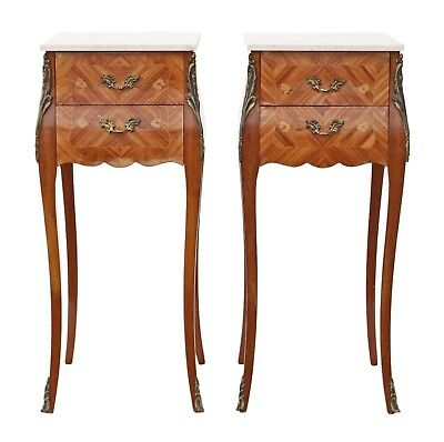 Antique pair of French Inlaid mahogany kingwood bombe style bedside tables