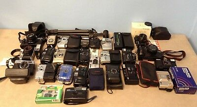 Large Camera Lot of 35mm Film Cameras + Equipment - Untested