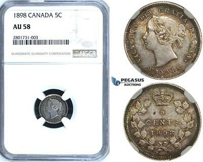 R646, Canada, Victoria, 5 Cents 1898, Silver, NGC AU58