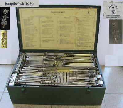 Wwii 1939 German Large Medical Surgical Tools Set Aesculap Hauptbesteck Xtr Rare