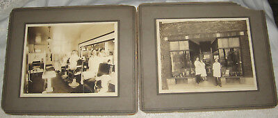 2 Lg. Cabinet Photos 1927 Barber Shop/Beauty Parlor - Edison Park - Chicago IL