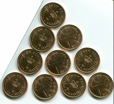 Ten Uncirculated 1979 Half New Penny Coins