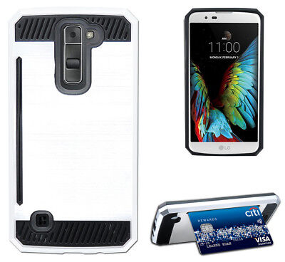 WHITE RUGGED TPU RUBBER HARD SHELL CASE STAND COVER FOR LG K7 and LG TRIBUTE 5