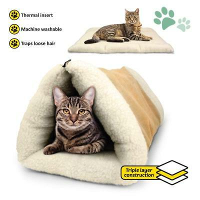 PET Palace 2-in-1 Pet Bed Snooze Tunnel and Mat for Pets Cats Dogs