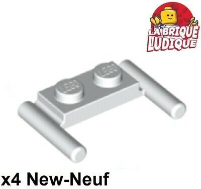 8 x LEGO 2540 Plaque Poignée blanc, white Plate 1x2 Handle On Side NEUF NEW