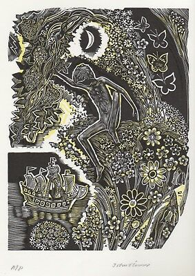 """Ariel Playing"" John O'Connor Wood Engraved and Stamped Original Print"