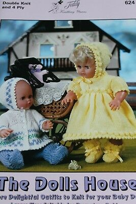 Teddy brand knitting pattern booklet 624. Designs for dolls in DK and 4 ply.