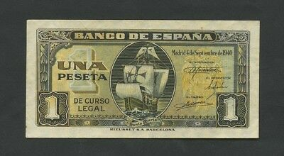SPAIN  1 peseta  1940  P122  Good Very Fine  Banknotes