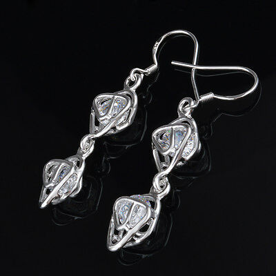 8 pairs Popular Hollow stone Earrings silver Plated Women Lady Gift Jewelry