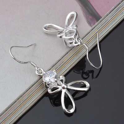 8pairs Wedding Popular Bow Earring silver Plated Elegant Women Lady Gift Jewelry