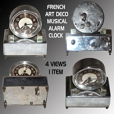 Art Deco Imperial Jaccard French Musical Alarm Clock In As Found Condition