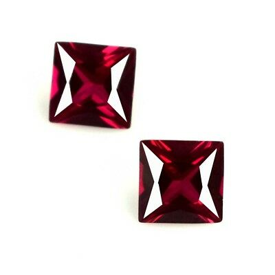 3.90 Ct/6mm Princess Cut Mozambique Ruby Loose Gemstone Natural Pair Certified