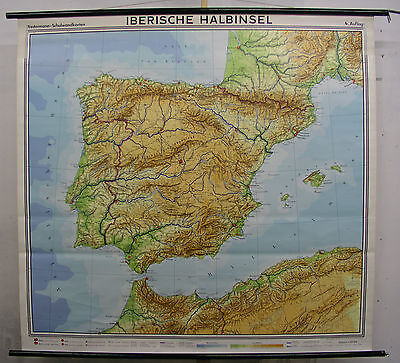 Schulwandkarte Spain España Portugal Lisboa Madrid 173x164 Vintage Map
