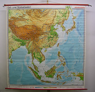 Schulwandkarte Map South-East Asia Indonesia Japan India Pacific 183x194 1976
