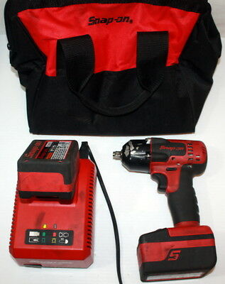 """Snap-On CT8810A 18V Lithium 3/8"""" Impact Wrench w/2 Batteries & Charger NICE"""