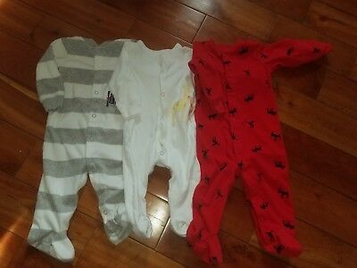 Carters Lot Of 3 Baby Boy 9 Month Footed Pajama Sleepers