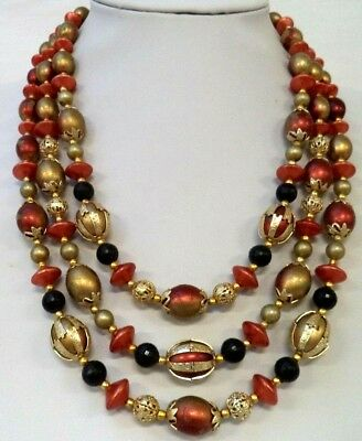 "Stunning Vintage Estate Signed Hong Kong Bead Triple Strand 19"" Necklace! 1835K"