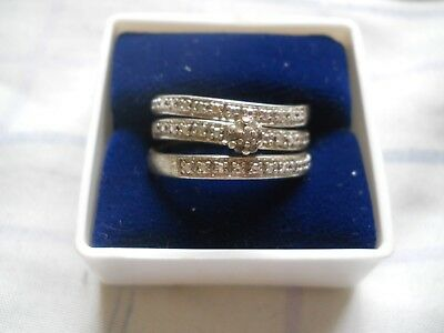 Sterling Silver Triple Band Diamond Ring, (Today Tommorrow Always)