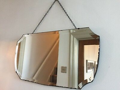Vintage Frameless Foxed Wall Mirror Bevelled Art Deco Original Chain 60x32cm m80
