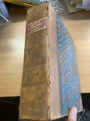 "1875 Antique Law ""the Justice Of The Peace"" Vol Xxxix Large Heavy Leather Book"