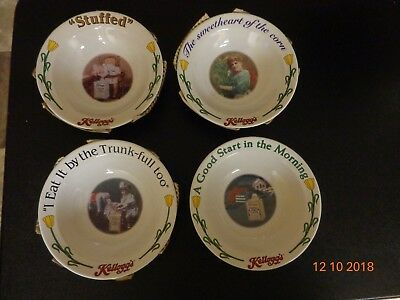 Kelloggs Cereal Set of 4 Porcelain Bowls 1996 w/Certificate of Authenticity.