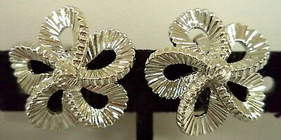 "Stunning Vintage Estate Signed Coro Silver Tone Flower 1"" Clip Earrings!!! 1837C"