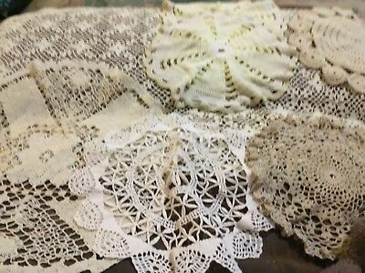 A Job Lot of 7 Vintage / Doillies Fine Hand Crocheted Sizes Cream