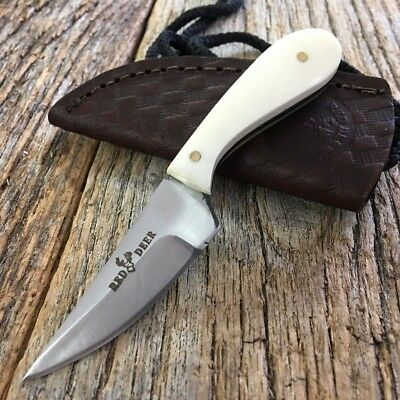 FUL TANG White Bone Handle Fixed Blade Hunting Bowie Skinner Knife STRIAGHT