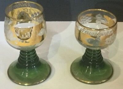 Goblets German Roemer Wine Glass & Jeweled Cordial Gold & Green Beehive Stem