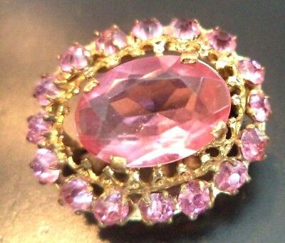 "Stunning Vintage Estate Signed Czecho Rhinestone Flower 1"" Brooch!!! 1838C"