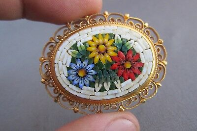 Vintage Italy Gold Tone Oval Filigree Flower Micro Mosaic Pin Brooch