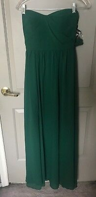 ddf397172f0 Nordstrom Social Bridesmaids Women s Hunter Green Strapless Gown Size 0 NEW