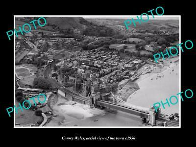 OLD LARGE HISTORIC PHOTO OF CONWY WALES, VIEW OF THE TOWN & CASTLE c1950