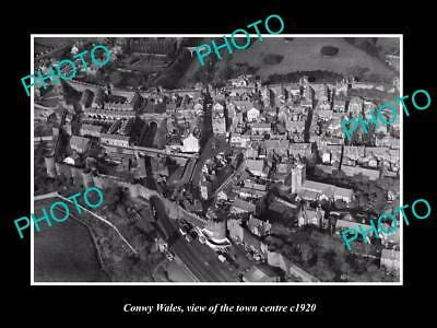 OLD LARGE HISTORIC PHOTO OF CONWY WALES, VIEW OF THE TOWN CENTRE c1920 1