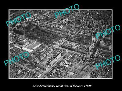 OLD LARGE HISTORIC PHOTO ZEIST NETHERLANDS HOLLAND, TOWN AERIAL VIEW c1940 1