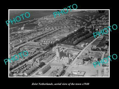 OLD LARGE HISTORIC PHOTO ZEIST NETHERLANDS HOLLAND, TOWN AERIAL VIEW c1940 4