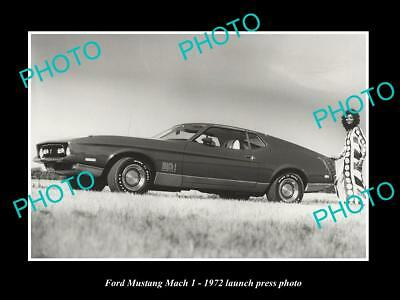 Old Large Historic Photo Ford Mustang Mach 1 1972 Launch Press Photo