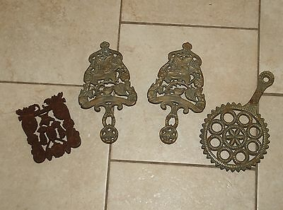 VINTAGE Lot of 4 Wrought Iron TRIVETS  -