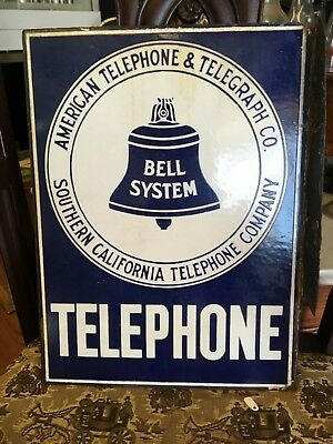 Southern California Telephone Company Flange Sign Antique Double Sided