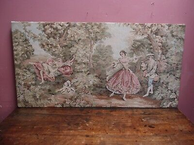 Large Antique French Rococo Woolwork Tapestry In The Style Of Fragonard