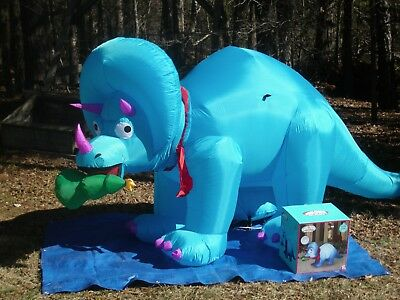 Gemmy 10' Animated Triceratops Dinosaur Christmas Lighted Airblown Inflatable
